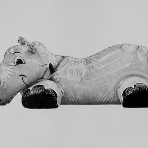 (CreativeWork) Hippo in Plastic (Summer Inflation) by Daniel Sherington. drawing. Shop online at Bluethumb.