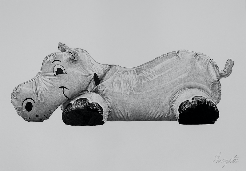 (CreativeWork) Hippo in Plastic (Summer Inflation) by Daniel Sherington. Drawings. Shop online at Bluethumb.