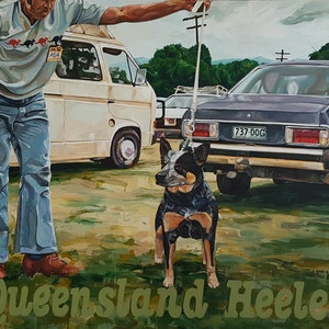 (CreativeWork) Queensland Heeler by Leo Alexander Scott. oil-painting. Shop online at Bluethumb.