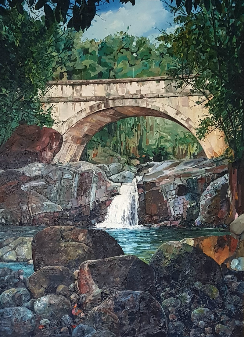 (CreativeWork) Crystal Creek - Townsville (Paluma National Park)  by Leo Alexander Scott. oil-painting. Shop online at Bluethumb.