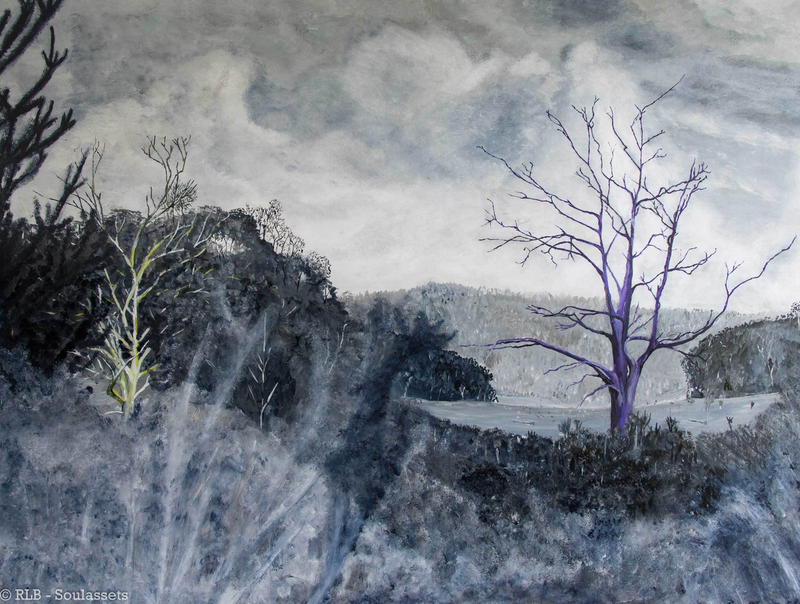 (CreativeWork) Bare Tree by Rodney Black. arcylic-painting. Shop online at Bluethumb.