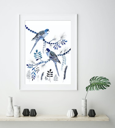 (CreativeWork) Indigo Rosellas and Native Flora Ed. 6 of 50 by Sally Browne. Print. Shop online at Bluethumb.