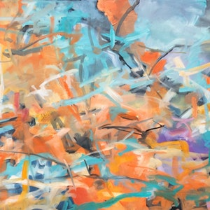 (CreativeWork) The de-constructed abstract  by sue bannister. oil-painting. Shop online at Bluethumb.