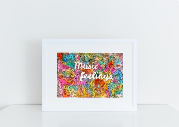 (CreativeWork) Music is what feelings sound like by Mishy Rowan. Watercolour Paint. Shop online at Bluethumb.