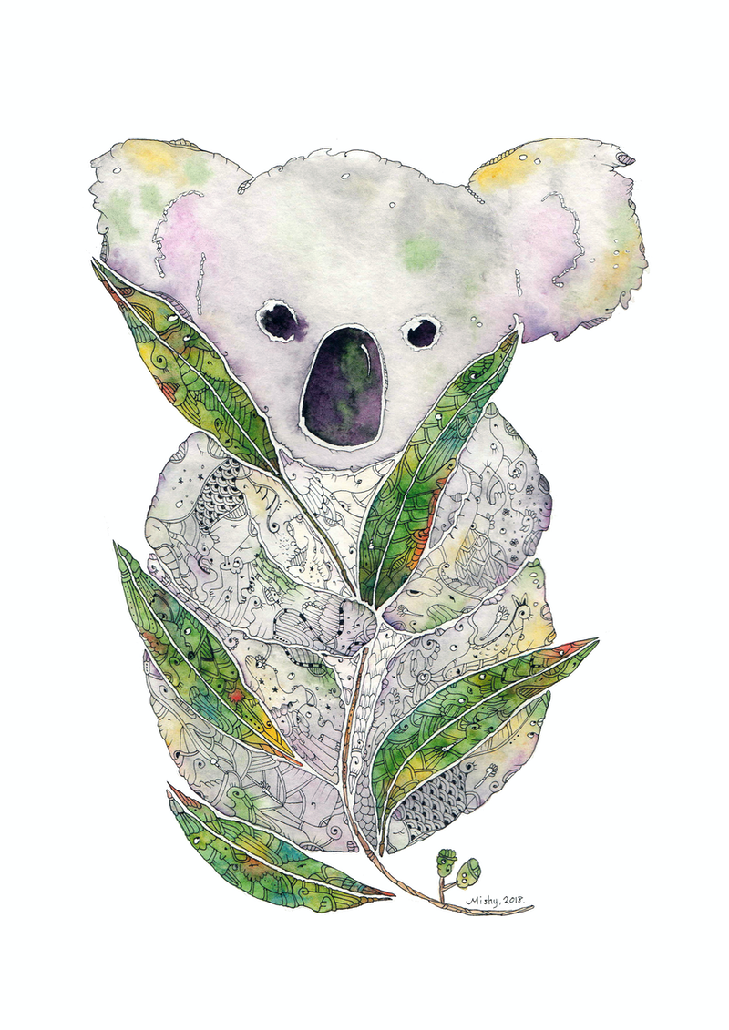(CreativeWork) Koala by Mishy Rowan. Watercolour Paint. Shop online at Bluethumb.