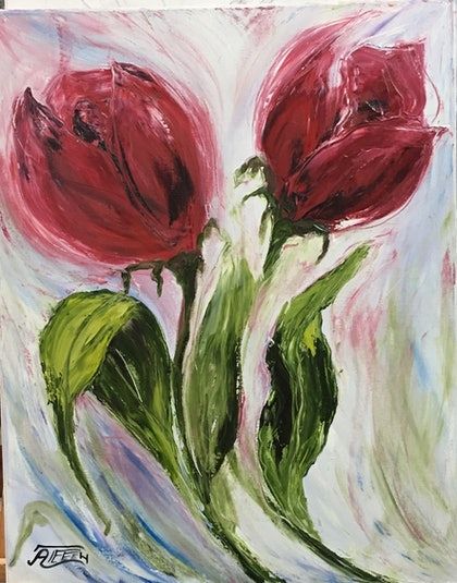 (CreativeWork) Poppy by atefeh hekmat. oil-painting. Shop online at Bluethumb.