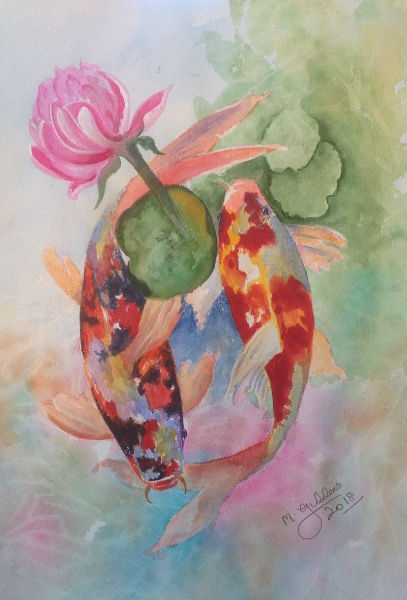 Koi And Lotus Flower By Michael Giddens Paintings For Sale