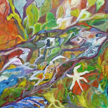 (CreativeWork) Perentie Over Creek Bed by Ulla Heckel. Oil Paint. Shop online at Bluethumb.
