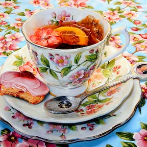 (CreativeWork) Her  Majes - Tea by paul mcknight. oil-painting. Shop online at Bluethumb.