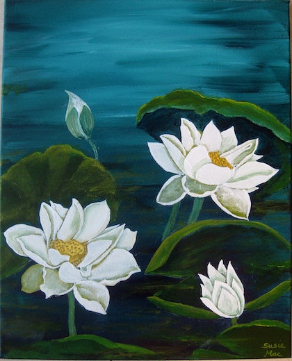 (CreativeWork) Waterlily Delight by Susie Mac. arcylic-painting. Shop online at Bluethumb.