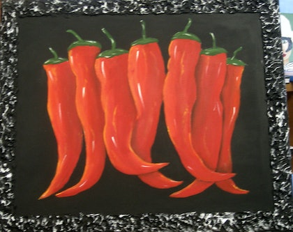 (CreativeWork) Seven Dancing Chillies by Susie Mac. mixed-media. Shop online at Bluethumb.