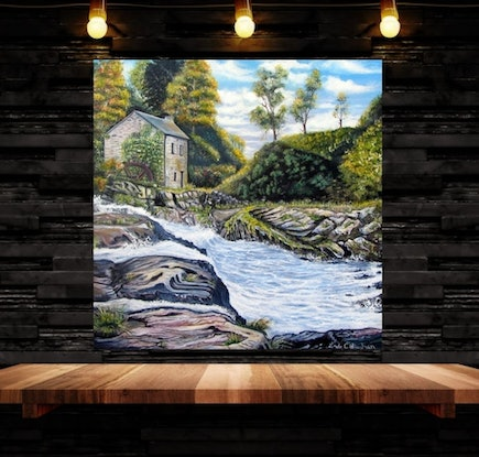 (CreativeWork) The Mill on the River by Linda Callaghan. Acrylic Paint. Shop online at Bluethumb.