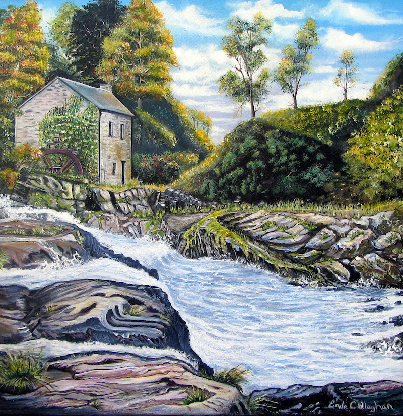 (CreativeWork) The Mill on the River by Linda Callaghan. acrylic-painting. Shop online at Bluethumb.