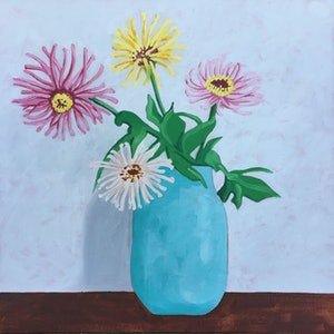 (CreativeWork) Gerberas in Turquoise vase by Sandra Jenkins. oil-painting. Shop online at Bluethumb.