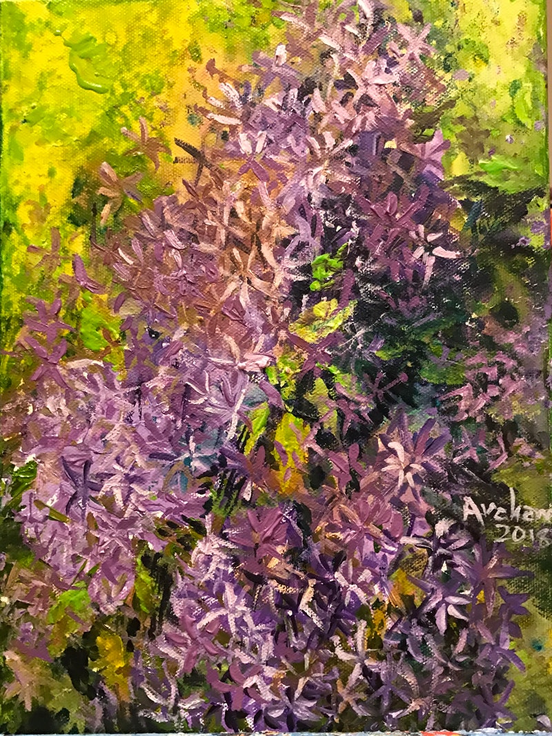 Purple Star Flowers By Archana Sinh Paintings For Sale Bluethumb