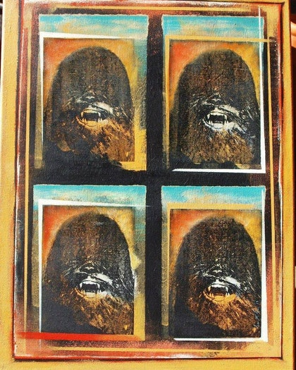 (CreativeWork) Chewie Selfie by Sean McGovern. mixed-media. Shop online at Bluethumb.