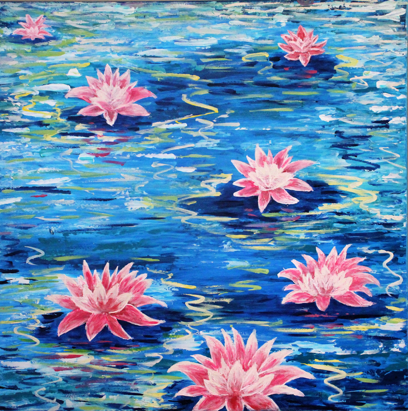 (CreativeWork) Water Lily Heaven by Wendy Hocking. arcylic-painting. Shop online at Bluethumb.