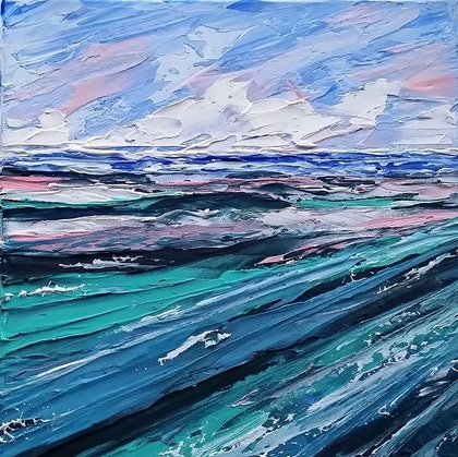 (CreativeWork) Ocean Dream Series - No. 7 - 'Turquoise Tide' -BLUE ABSTRACT LANDSCAPE by Desley Wilson. arcylic-painting. Shop online at Bluethumb.