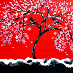 (CreativeWork) Red Crimson by Cathy Snow. arcylic-painting. Shop online at Bluethumb.