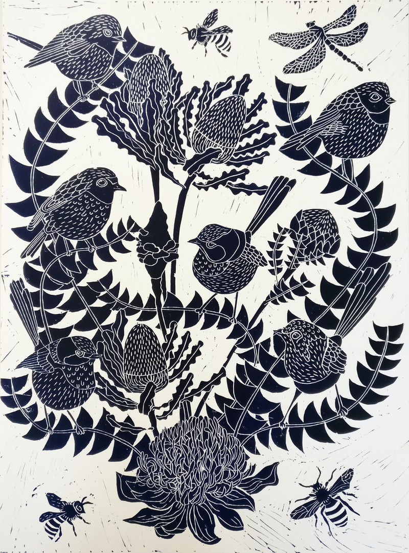 (CreativeWork) Fairy Wren and Banksia Lino print Ed. 18 of 100 by Marinka Parnham. print. Shop online at Bluethumb.