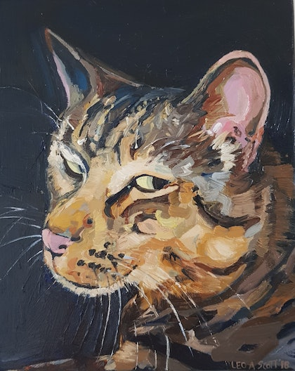 (CreativeWork) Portrait of a Cat by Leo Alexander Scott. oil-painting. Shop online at Bluethumb.