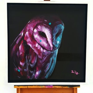 (CreativeWork) Pink Night by Kenneth Chu. arcylic-painting. Shop online at Bluethumb.