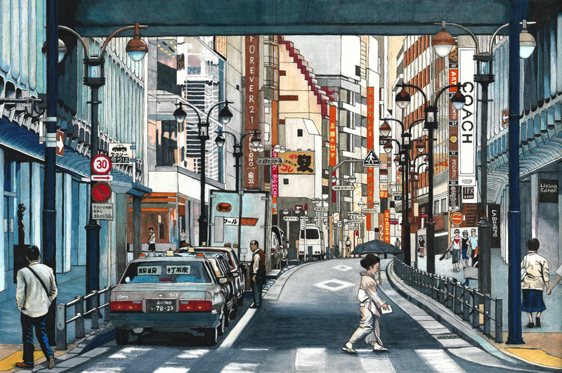 (CreativeWork) Tokyo Crossing - Original by Erin Nicholls. drawing. Shop online at Bluethumb.