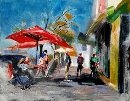 (CreativeWork) RED UMBRELLA by Lynne Parfitt. arcylic-painting. Shop online at Bluethumb.