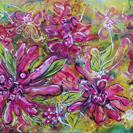 (CreativeWork) Flower Garden | Diptych by Wendy Eriksson. Acrylic Paint. Shop online at Bluethumb.