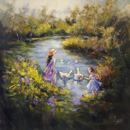 (CreativeWork) Playing at the pond by Ivana Pinaffo. arcylic-painting. Shop online at Bluethumb.