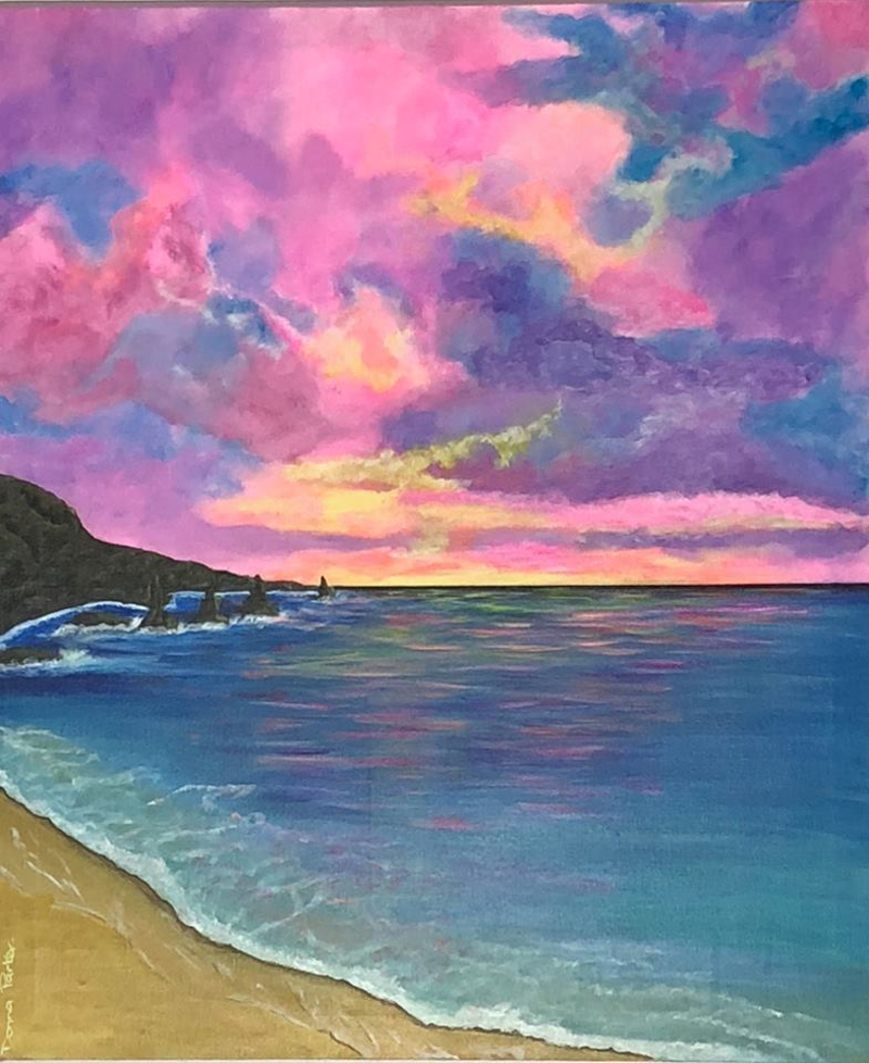 (CreativeWork) Tropical sunset by Donna Parker. arcylic-painting. Shop online at Bluethumb.