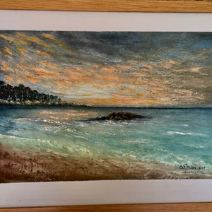 (CreativeWork) Sunset by Carlo Valentini. oil-painting. Shop online at Bluethumb.
