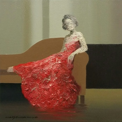 (CreativeWork) Red Dress  by nashwan alessa. oil-painting. Shop online at Bluethumb.
