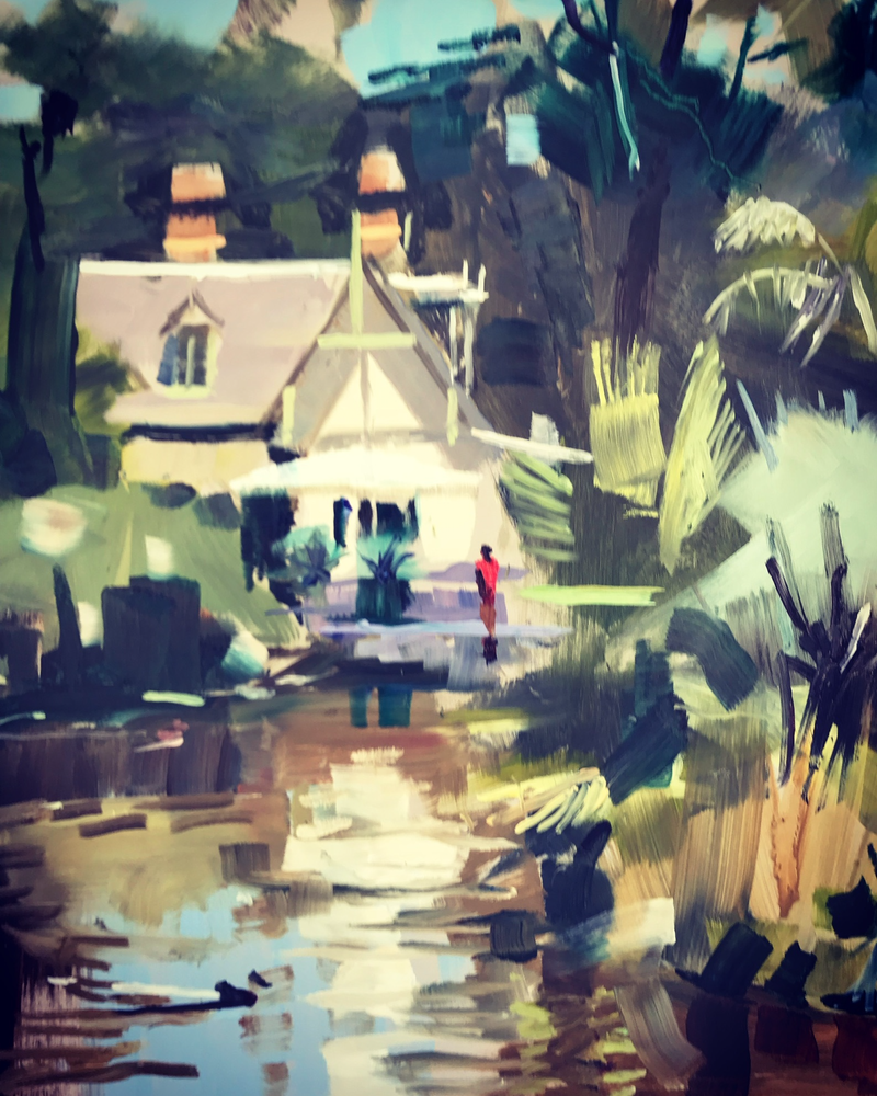 (CreativeWork) Curators Cottage, Queens Park, Moonee Ponds  2 by Ray Wilson. oil-painting. Shop online at Bluethumb.