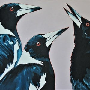 (CreativeWork) Chortling Trio by Erin Sullivan. oil-painting. Shop online at Bluethumb.