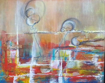 (CreativeWork) Summer Dance  by Jane McCumstie. mixed-media. Shop online at Bluethumb.