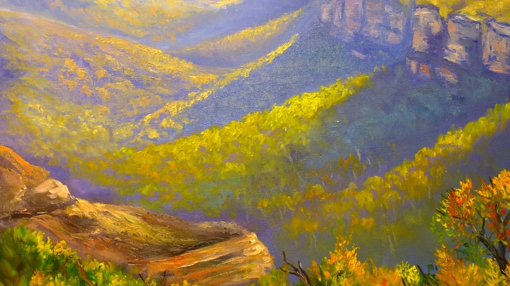 (CreativeWork) View of the Grose Valley from Mount Banks Traverse - oil on canvas ready to hang by Christopher Vidal. #<Filter:0x000056473f1f9d98>. Shop online at Bluethumb.