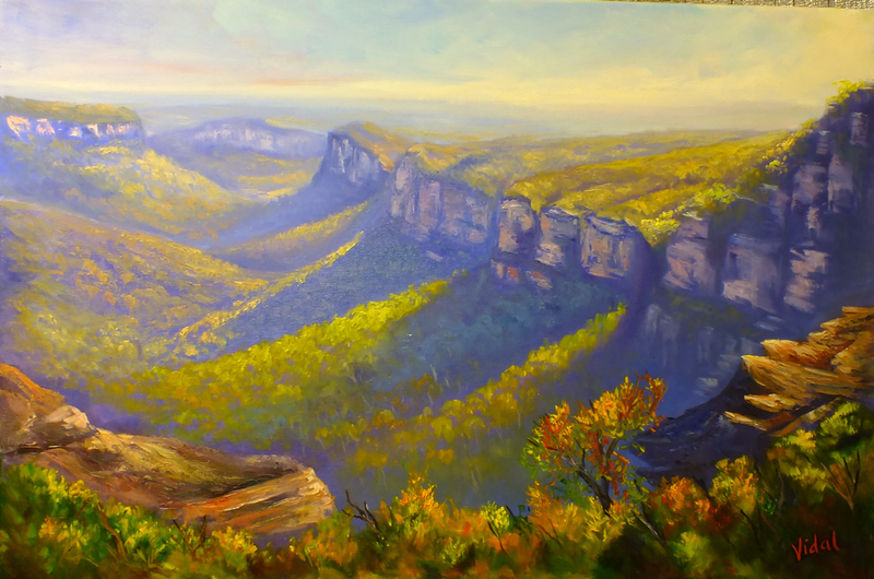 (CreativeWork) View of the Grose Valley from Mount Banks Traverse - oil on canvas ready to hang by Christopher Vidal. oil-painting. Shop online at Bluethumb.