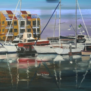 (CreativeWork) SANDY STRAITS MARINA BOATS by Ralph Coles. oil-painting. Shop online at Bluethumb.
