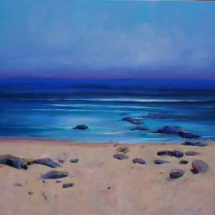 (CreativeWork) BLUE HORIZON by Sandra Michele Knight. oil-painting. Shop online at Bluethumb.