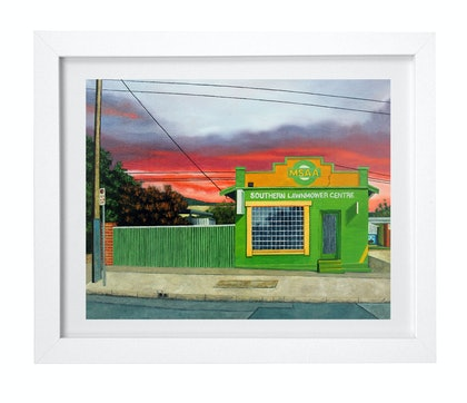 (CreativeWork) 'Greener Pastures' by Donovan Christie. oil-painting. Shop online at Bluethumb.