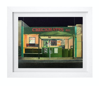 (CreativeWork) 'This Shits Chess, Not Checkers' by Donovan Christie. oil-painting. Shop online at Bluethumb.