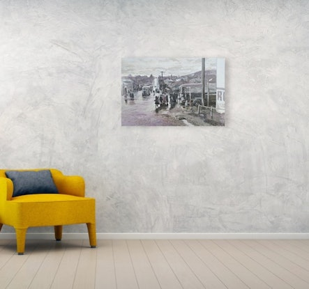 (CreativeWork) West Hobart, April 1952 by Michael Bessell. Acrylic Paint. Shop online at Bluethumb.