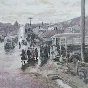 (CreativeWork) West Hobart, April 1952 by Michael Bessell. acrylic-painting. Shop online at Bluethumb.