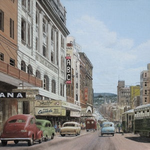(CreativeWork) At the GPO Terminus, Hobart c.1958 by Michael Bessell. oil-painting. Shop online at Bluethumb.