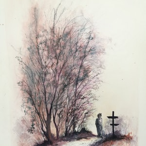 (CreativeWork) The Road Less Travelled by Lucinda Leveille. watercolour. Shop online at Bluethumb.