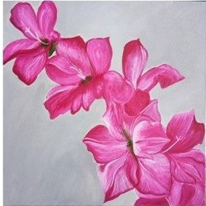 (CreativeWork) Magenta flowers- Triptych by SUDAY AA. arcylic-painting. Shop online at Bluethumb.