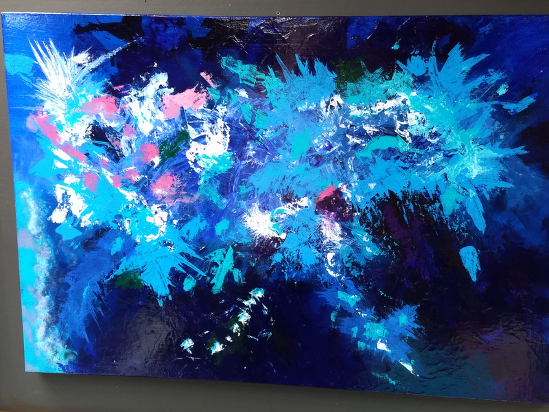 (CreativeWork) Coral Seas by Tracy Hocking. Acrylic Paint. Shop online at Bluethumb.