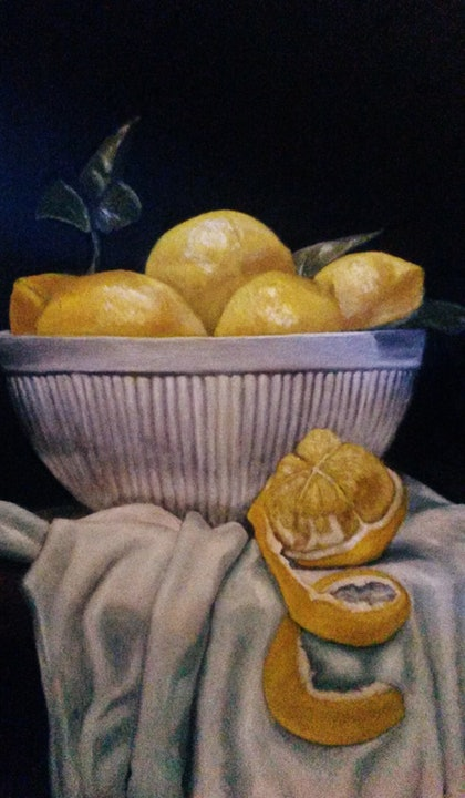 (CreativeWork) Lemonade by Michelle Houston. oil-painting. Shop online at Bluethumb.