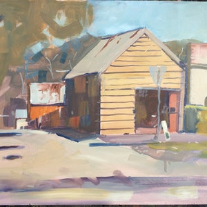 (CreativeWork) Maldon laneway  by Ray Wilson. oil-painting. Shop online at Bluethumb.